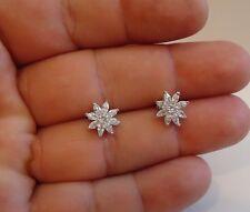 FLOWER SHAPE STUD  EARRINGS W/ 2 CT LAB DIAMONDS/ 925 STERLING SILVER/ 10MM
