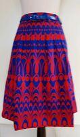 JACQUI E Red/Blue Geometric Print Skirt Size 16 BNWT