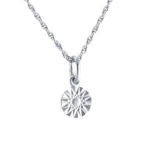 "Solitaire Diamond 925 Sterling Silver Round Pendant W/18"" Chain"