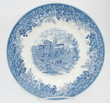 """Wedgwood Romantic England Queens Ware Moreton Old Hall 10.75"""" Dinner Plate Blue"""