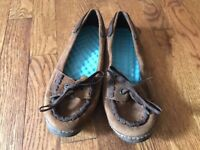 Women's Brown Suede SIMPLE BIO D Egg Crate Flats Slip On Shoes Size 8 / 39 #9032