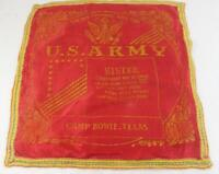 Vintage WWII U.S. Army Camp Bowie Texas Sister Souvenir Pillow Cover