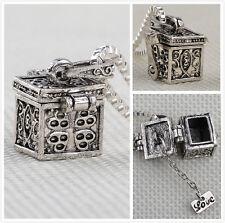 Metal Box Urn Cremation Pendant Necklace Ash Holder Keepsake Charm Chain Jewelry
