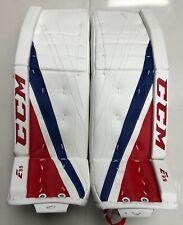 "CCM Extreme Flex E3.9 Senior Goalie Leg Pads 33"" 2 SR Ice Hockey Wt/blue/red"