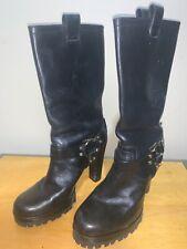 Vintage Tory Burch 100% Black Leather, Motorcycle Knee High Heels Boots