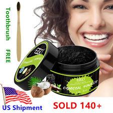 EZGO Charcoal Teeth Whitening Powder + Toothbrush Bright White FDA Mint flavor