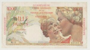 GUADELOUPE  P 37a  WOMEN  1.000  FRANCS  1947 - 49  CANOE  VERY COLOURFUL  VF