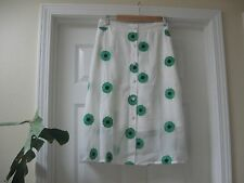SISTER JANE PRIMAVERA SKIRT WHITE with  EMBROIDERED GREEN FLOWERS ,Sz M