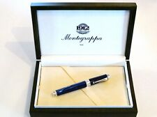 MONTEGRAPPA EMBLEMA ROLLERBALL PEN IN BLUE CELLULOID WITH SILVER 925 TRIM - NEW