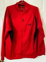 Men's Under Armour Zip Up Red Jacket Size XXL. Body 100% Polyester.