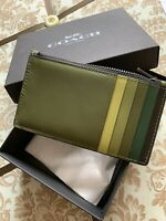 NWT Coach  ZIP CARD CASE IN COLOR-BLOCK LEATHER 91241 GREEN MULTI