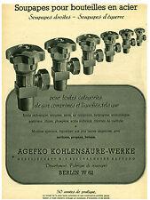 Publicité ancienne soupapes pour bouteilles en acier  1941 issue de magazine