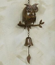 """Brown Owl Metal Wall Hanging with Bell 25"""" Long -  Home Decor NEW"""