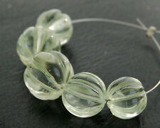 Natural Green Amethyst Carved Pumpkin Round Semi Precious Gemstone Beads