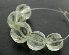 Natural Green Amethyst Carved Pumpkin Round Semi Precious Gemstone Beads