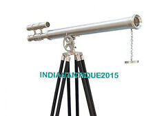 Royal Beautiful Navy Large Nautical Chrome Telescope Black Wooden Stand