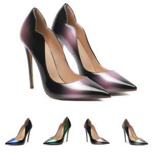 Elegant Women 12cm High Stiletto Pointy Toe Patent Leather Slip On Formal Pumps