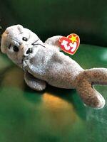 Ty Beanie Babies Slippery Seal Baby 1998 Hang, 1999 Tush - Errors, Rare, Mint