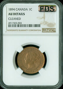 1894 THIN-4 CANADA LARGE CENT NGC MAC AU-55 FDS FIRST DIE STRIKE *