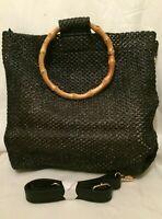 Womens Wicker Straw Tote Woven Black Handbag Shoulder Bag Holiday Summer Beach