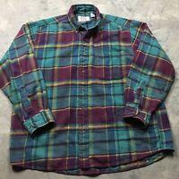 90s VTG SEARS FLANNEL Plaid Green Purple Shirt L Work GRUNGE 80s Skate BOLD