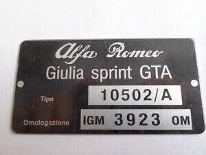 Nameplate Alfa Romeo Giulia Sprint Gta 10502/A Igm 3923 D-Plate Data Plate S20