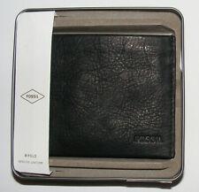 Fossil Men's Granville Bifold Wallet Genuine Leather Black Color