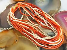 """14k Vintage Red & Angel Skin White Coral BEAD NECKLACE Eight Strand Opera 36"""""""