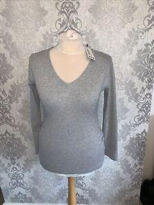 Bnwt New Grey 12 Boohoo Maternity Top Stretchy Long sleeve