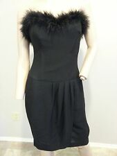 Vtg 90's Ann Taylor Black Ostrich Feathers Strapless Cocktail Party Dress S M