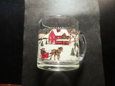CHRISTMAS SNOW SCENE MADE IN USA GLASS MUG!  DD594XCX