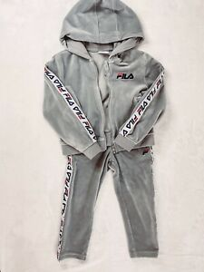 FILA Toddler Track Suit  Size 3T Velour Sweatsuit Grey/White Pants And Hoodie