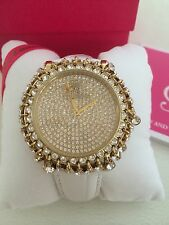 NIB Juicy Couture Total Bling Croc- Embossed Leather Strap Watch