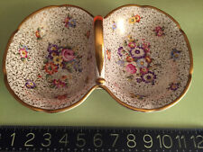 Antique Carl Tielsch German Floral Divided Porcelain Handled Serving Dish Gilded