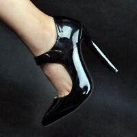 Sexy Womens Patent Leather Strappy High Stiletto Heels Pumps Party Shoes Black