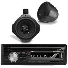 "Pyle Bluetooth Marine Radio MP3/USB/SD CD AM/FM, 2x 6.5"" Wake Board Speakers"