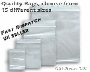 100 Small Plastic  Bags Clear Baggies Bags Grip Self Seal Resealable Zip Lock UK