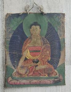 Mongolian Tibetan antique miniature tsakli Thangka Painting Buddha Shakyamuni