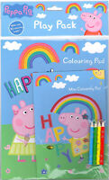 Peppa Pig Play Pack Colouring Pads Pencils Childrens Activity Set Party Bag
