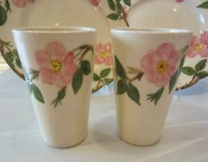 """Vntg 2 Franciscan Desert Rose 12oz TUMBLERS Tall Cups 5-¼"""" Earthenware USA Mint!"""