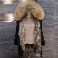 Removable Liner Women Real Raccoon Fur Parka Coat Hooded Jacket Overcoat Lining