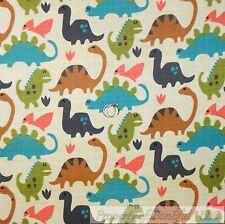 BonEful Fabric FQ Cotton Flannel Quilt Brown Blue Gray Green Dinosaur S Baby Boy