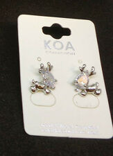 Reindeer Designer Cubic Zirconia Earrings White Gold Plated