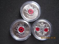 Canada Remembrance Day Red Poppy 2004 2008 2010  25 Cent Coin Set en-capsules