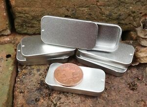 Rectangle Metal Tin with Sliding Lid 10ml *Camping Stash Survival Balm Storage