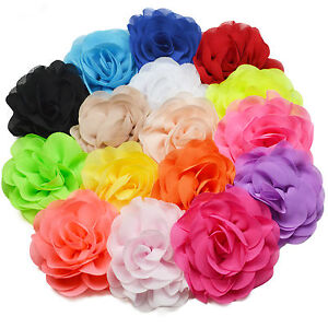 8cm Neon Brightly Coloured Fabric Flower Hair Clips Grips Bobbles
