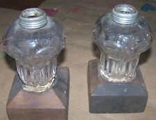"""Antique Glass & Wood Make-Do Kerosene Oil Lamps Circa 1860's 70""""s Pattern"""