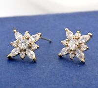 New 18K Gold Filled SIMULATED DIAMOND 15mm Star Snowflake Stud Earrings Gifts