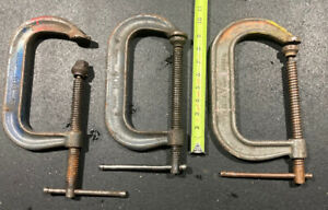3 Large C Clamp lot, Hargrave No. 406 Drop Forged Steel. C-clamp, Vintage Tools
