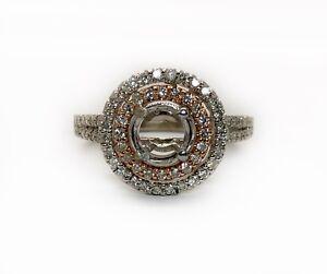 14K White & Rose Gold 0.56Ct Diamond Halo Semi Mount Engagement Ring 6MM Round